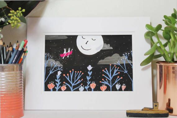 Moon Rabbits Sailing though the Sky -  Original Illustration by Clay Horses    #moon #nightsky #plants #rabbit #bunnies #clouds #plant #boat #stars #illustration #drawing #painting #imagination #opusdailypractice #imaginary