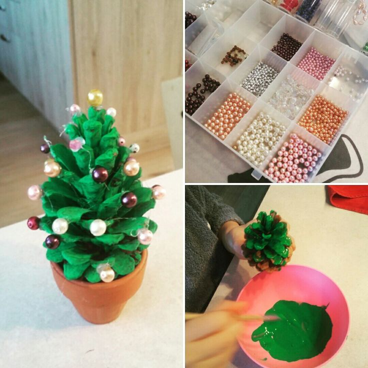 #fun4kids #SaSi  painted pinecone & glued beads...simple and cute geschilderde dennenappel met pareltjes erop gekleefd...simpel en schattig
