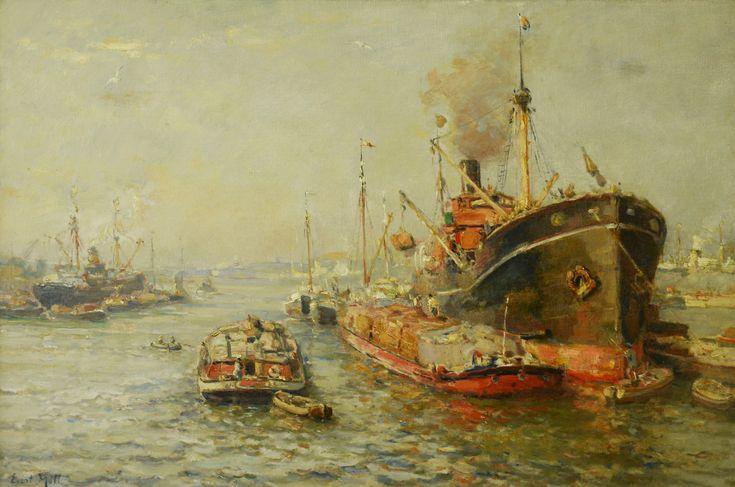 Evert Moll (1878-1955)  Titel: Schepen op de Maas - Artiquair