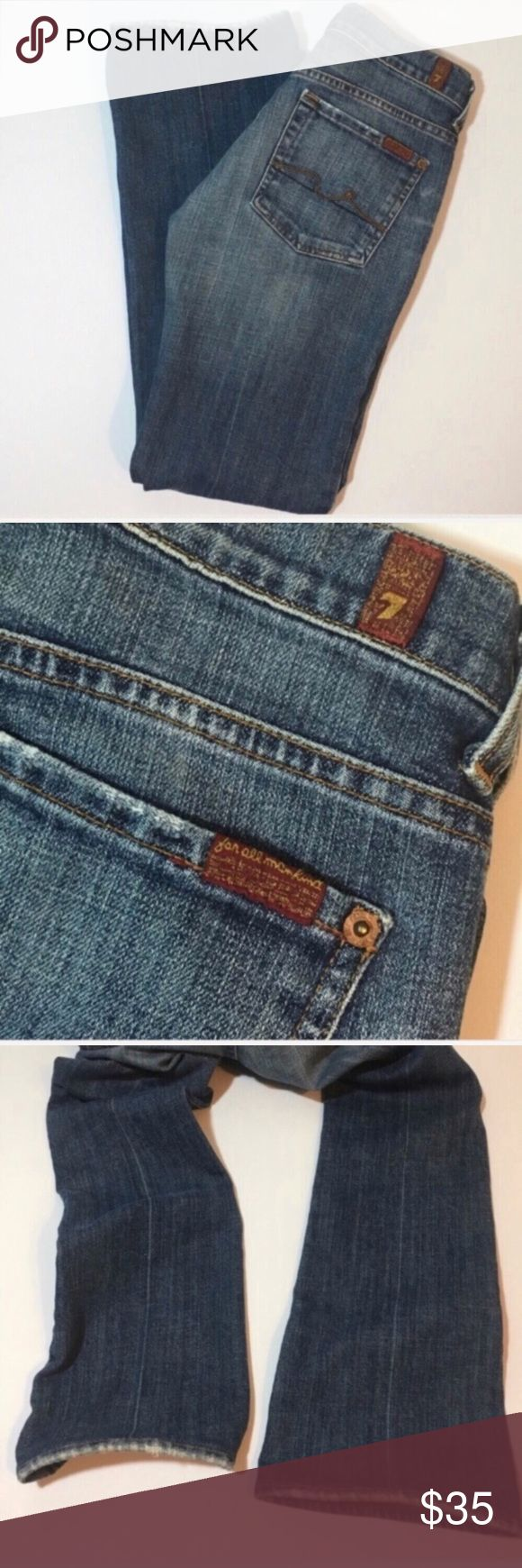 """7 for all Mankind boycut mini bootcut jeans Boy cut style mini boot jeans with button fly by 7 For All Man Kind. Inseam approx 28"""", rise approx 7.5"""" listed under petite because the inseam is short. 7 For All Mankind Jeans Boot Cut"""