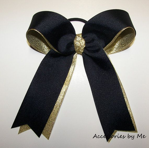 Ponytail Hair Bow Navy Blue Gold Metallic Girls by accessoriesbyme, $12.99