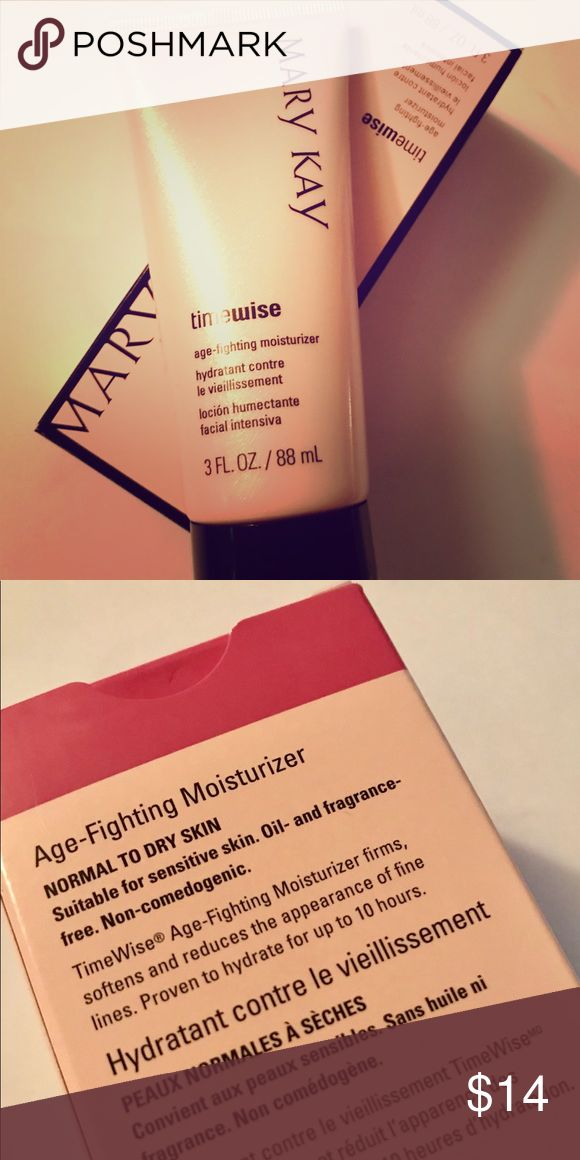 Mary Kay TimeWise Age Fighting Moisturizer TimeWise® Age-Fighting Moisturizer is formulated with a patented† complex that reduces the appearance of fine lines and wrinkles. It also contains a powerful antioxidant to help guard against free radical damage. Hydrates for up to 10 hours. Suggested retail price $24  Dermatologist-tested. Suitable for sensitive skin. Clinically tested for skin irritancy and allergy. Oil- and fragrance-free. Hypoallergenic. Non-comedogenic (will not clog pores)…