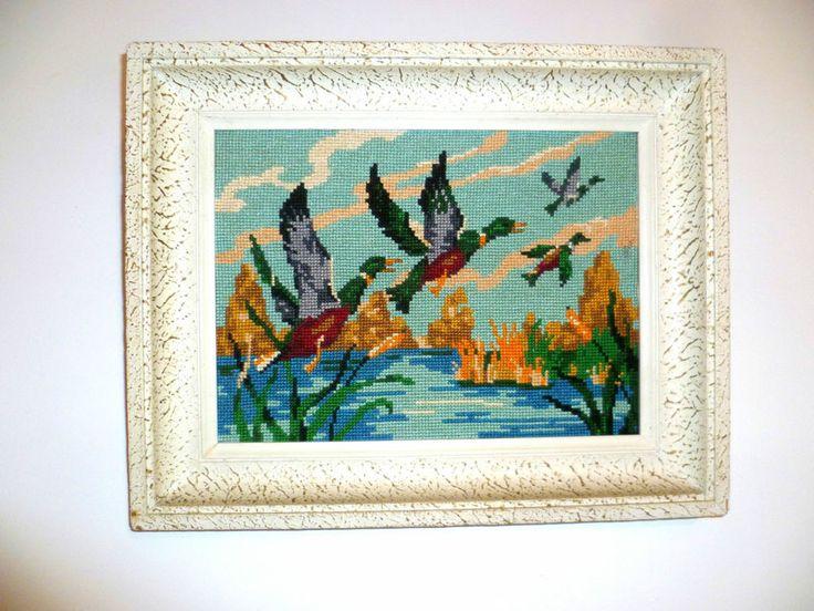 Vintage French Framed Needlepoint Tapestry,  Flying Ducks  mid century (0146)