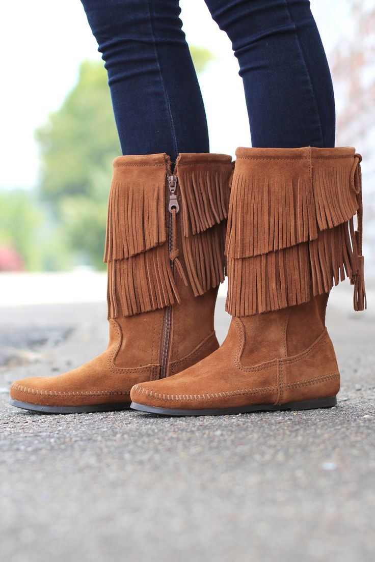 Minnetonka suede leather knee high tall lace up moccasin fringe boots - Minnetonka 2 Layer Fringe Boot Brown