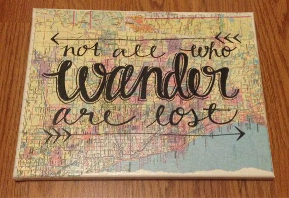 Not All Who Wander Are Lost Canvas Map Canvas Quote by kalligraphy, $35.00