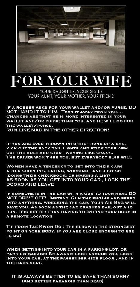 a lot of this could be directed to men too. you never think of it, but a guy with a gun can be very persuasive in any situation towards a man or woman.