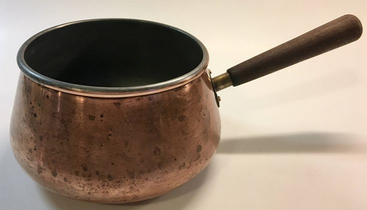 Vintage Copper Cookware Melting Pot | Saucepan Brass Rivets and Wood Handle Chocolate | Milk | Butter Pot Rustic Kitchen by YatsDomino on Etsy