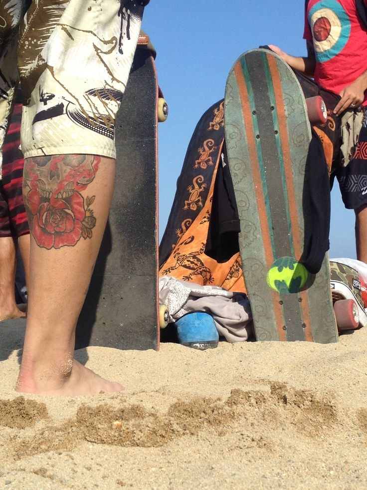 On the beach #beach #skateboard #tattoo #Barcelona #Spain