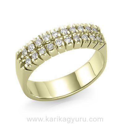 Karikagyűrű Áruház  Modern 20 köves gyémánt gyűrű 18K sárga arany foglalatban összesen 0,30ct súlyú G-H/Si2 minősített briliánssal. Súlya kb. 5,00gr.