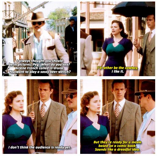 """""""They're ready for a movie based on a comic book. Sounds like a dreadful idea"""" - Peggy, Howard and Jarvis #AgentCarter ((Wel......))"""