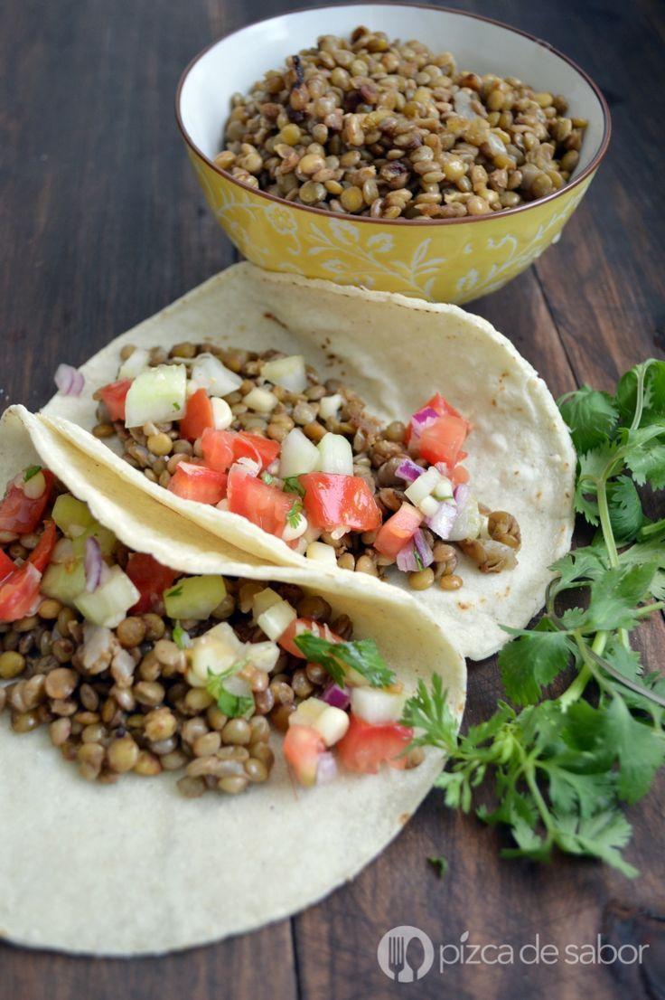 Tacos de lentejas www.pizcadesabor.com