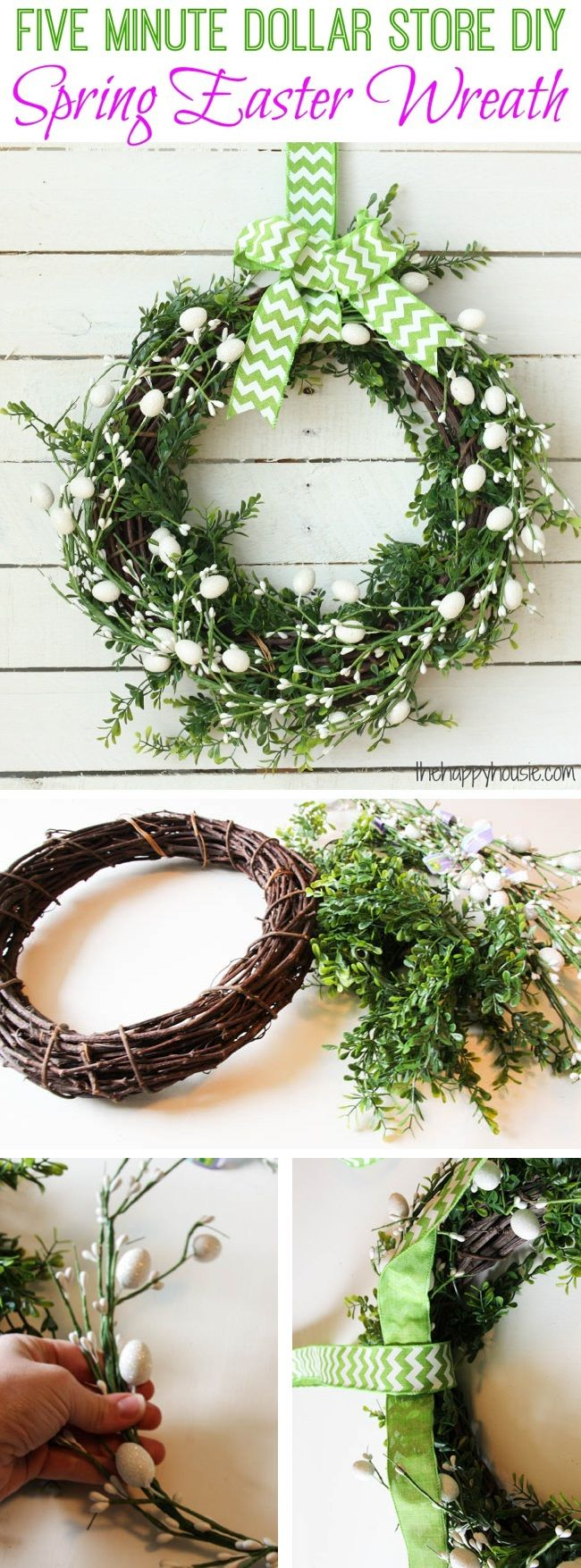 Five Minute Dollar Store DIY Spring Easter Wreath
