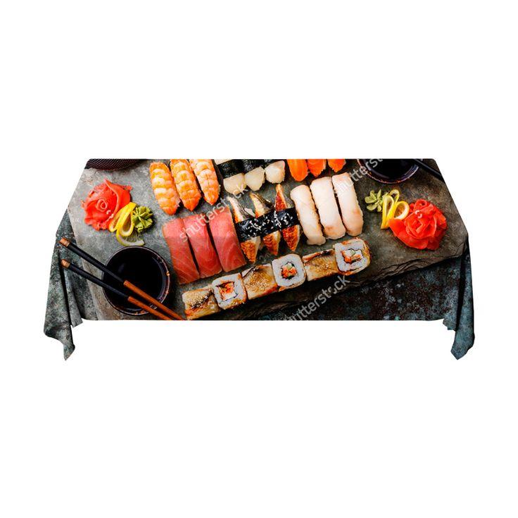 Tafelkleed Sushi set   Fleur je keuken op met dit weerbestendige tafelkleed bestaande uit geweven linnen met PVC.   #tafelkleed #keukentextiel #keuken #kleed #pvc #print #opdruk #tafel #weerbestendig #sushi #eten #voedsel #japans