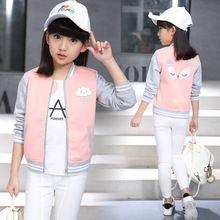 Niños Deporte Chaqueta para Chica Capa de la Historieta Adolescente prendas de Vestir Exteriores Ocasional Ropa Infantil Otoño Primavera Ropa Niños ropa de Béisbol(China)