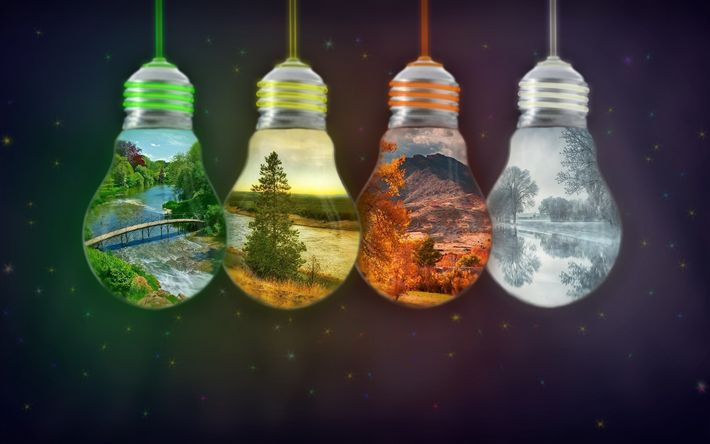 Download wallpapers 4 seasons concept, light bulbs, spring, summer, autumn, winter