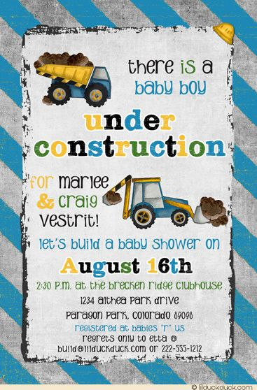 """Build a Baby Shower Invitation - Gray & blue custom colors can be changed to match your own """"under construction"""" theme as needed."""