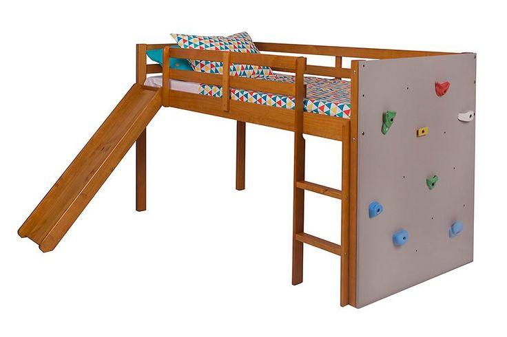 Cama de Solteiro Com Escorregador e Painel de Escalada Brincar - Cerezo | Camas…