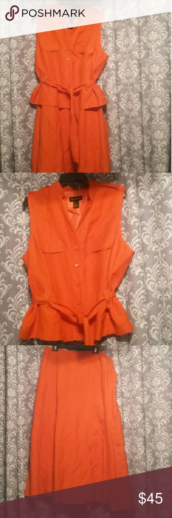 Ashley Stewart two piece linen skirt suits Ashley Stewart orange two piece linen / rayon skirt set. It is very pretty and has a tie around the waist and in very good condition Ashley Stewart Dresses Maxi