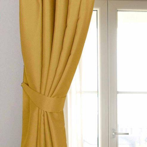 Homescapes Mustard Yellow Ochre Herringbone Chevron Curtains Tie Backs Pair