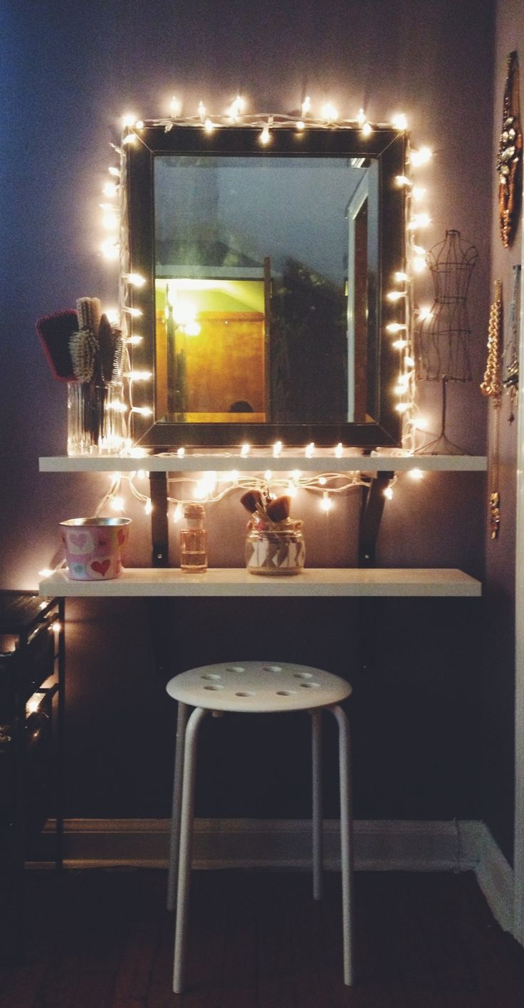 Diy ikea hack vanity put shelves on wall beside mirror for String lights for bedroom ikea