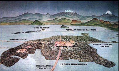 Tenochtitlan - ancient Aztec city. Mexico City was built on Aztec city Tenochtitlan.