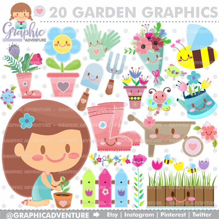 Spring Clipart, Spring Graphics, COMMERCIAL USE, Kawaii Clipart, Flower Graphics, Flower Clipart, Bee Graphics, Bee Clipart, Garden Clipart