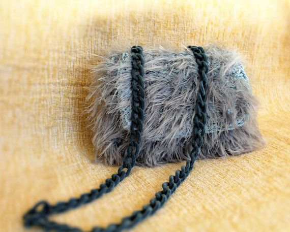 Shaggy crossbody bag Mini crossbody bag Light blue by MariliartbyM