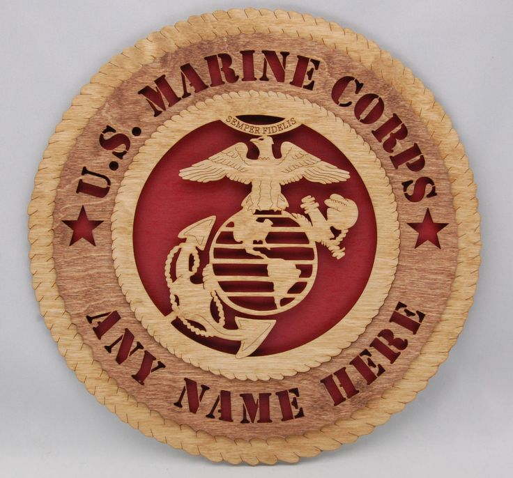 Personalized Laser cut United States Marine Corps wall plaque. Perfect customized gift for Veterans Day or holiday gift!
