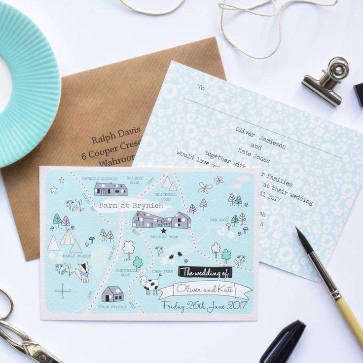 Illustrated Map Wedding Invitation