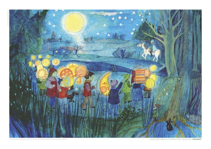 Poster im ÖKO-DRUCK mit Illustration von E.M.Ott-Heidmann aus Kinderbuch Herbst