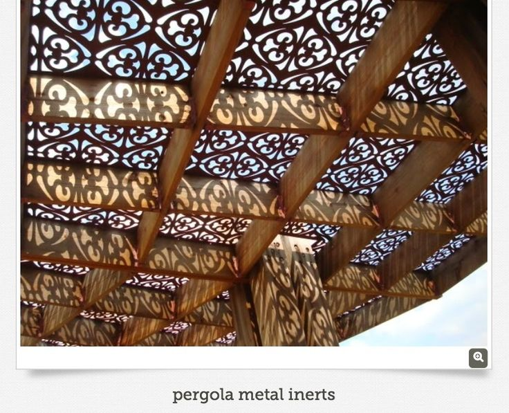 Decorative metal panels for arbors.