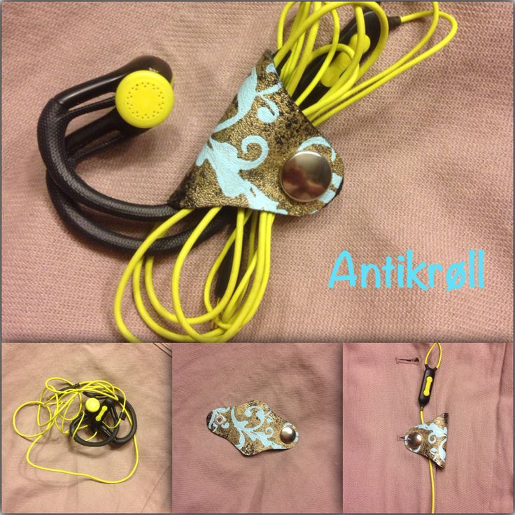 Earphones, tangelfree!  Made from scraps from an old leather jacket, hand painted with gold an 'tiffany blue'