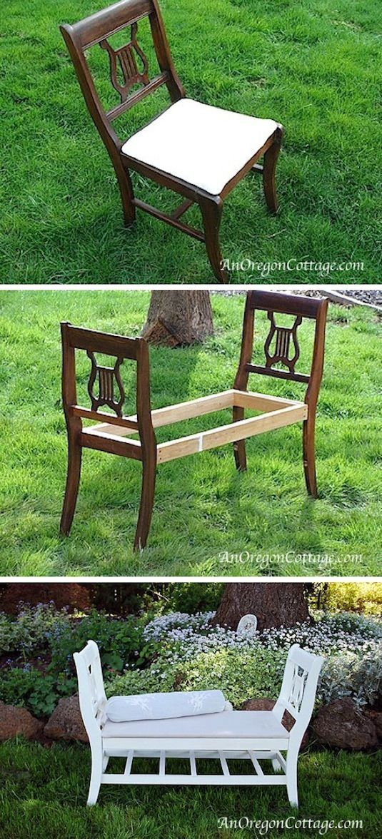 Dining Room Chairs Turned Into A Bench Instead of tossing those old or broken dining room chairs, turn them into a cozy indoor or outdoor bench.