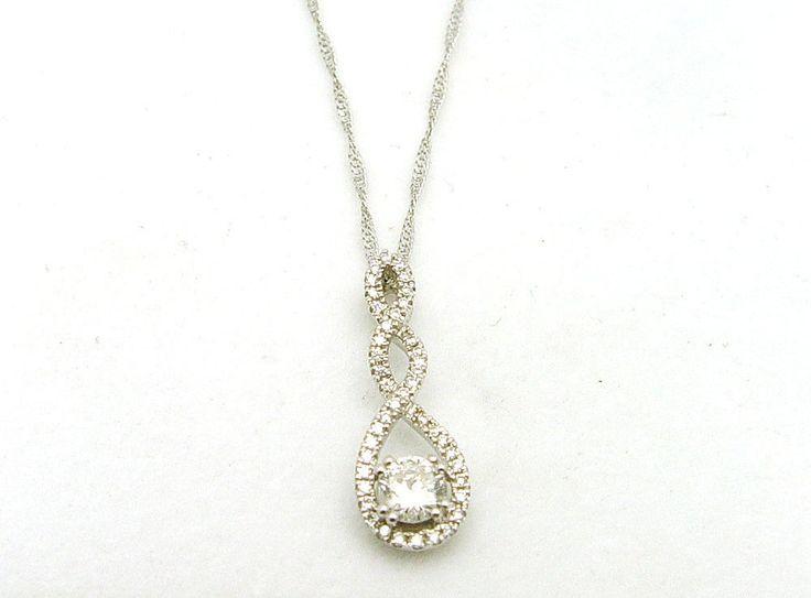 14K White Gold .36CT Center 44 Diamonds 0.51TDW Pendant/Chain - Appraised $2450 #Diamonds #Gold #ShopLocal #yyj