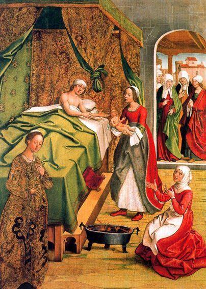 Nacimiento de la Virgen de Pedro de Berruguete (h. 1490). Museo de la Abadía de Monserrat, Barcelona.