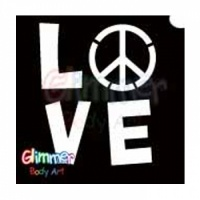 Glimmer Body Art Glitter Tattoos - BIG Love & Peace (5/pack). Glimmer Body Art Glitter Tattoos are so easy to use that even a beginner can create amazing looking glitter tattoos in minutes. Glimmer Body Art Love & Peace Glitter Tattoos are 4 in x 4 in and have three layers allowing for easy transfer to the skin. These glitter tattoos are non-latex, hypoallergenic, waterproof and can last up to 7 days.