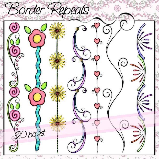 Border Repeats; Wide variety available! By: Olivia and Company At: http://www.oliviaandco.com/shop/borders/border-repeats#.U36bYvldWSo