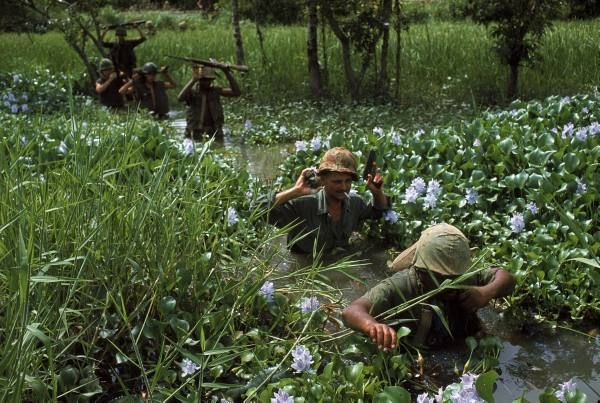 American soldiers wade through marshy area during the Vietnam War.