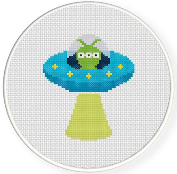 FREE for Aug 16th 2014 Only - Alien UFO Cross Stitch Pattern