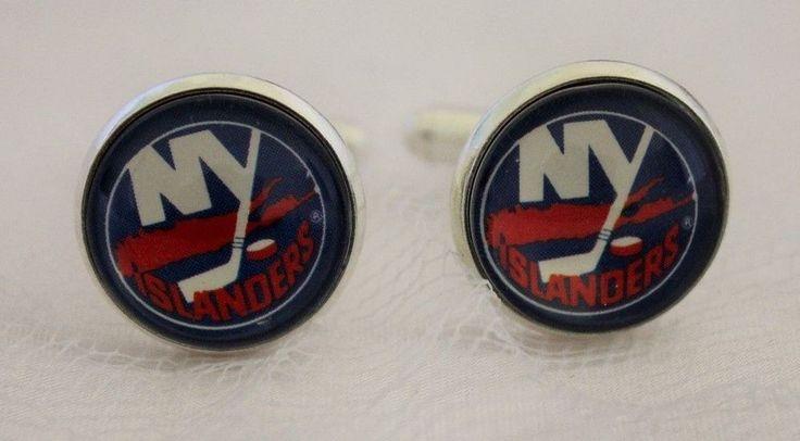 New York Islanders Cufflinks made from Hockey Trading Cards Upcycled #NewYorkIslanders