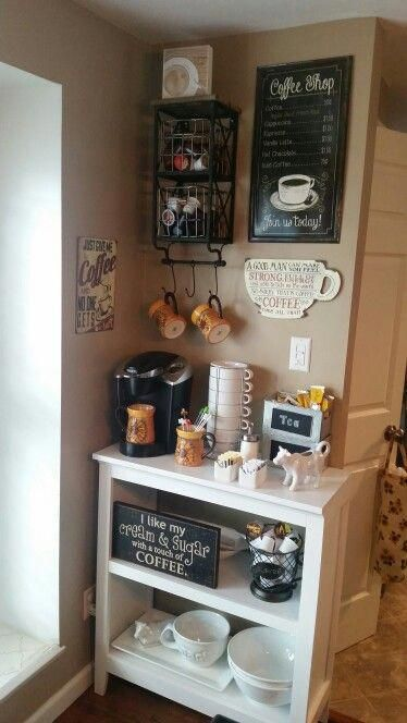 √ 50 DIY Coffee Bar Ideas inside the Home for Coffee Enthusiast , Here are brilliant coffee station ideas for creating a little coffee corner that will help you decorate your home. Find and save ideas about Home coff. Coffee Area, Coffee Nook, Coffee Bar Home, Home Coffee Stations, Coffee Tables, Coffee Bar Ideas, House Coffee, Coffee Mugs, Coffee Corner Kitchen