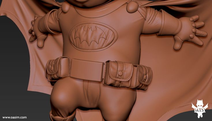 digitally sculpting the tiny details as the pouches in ZBrush and preparing the final details of the toy