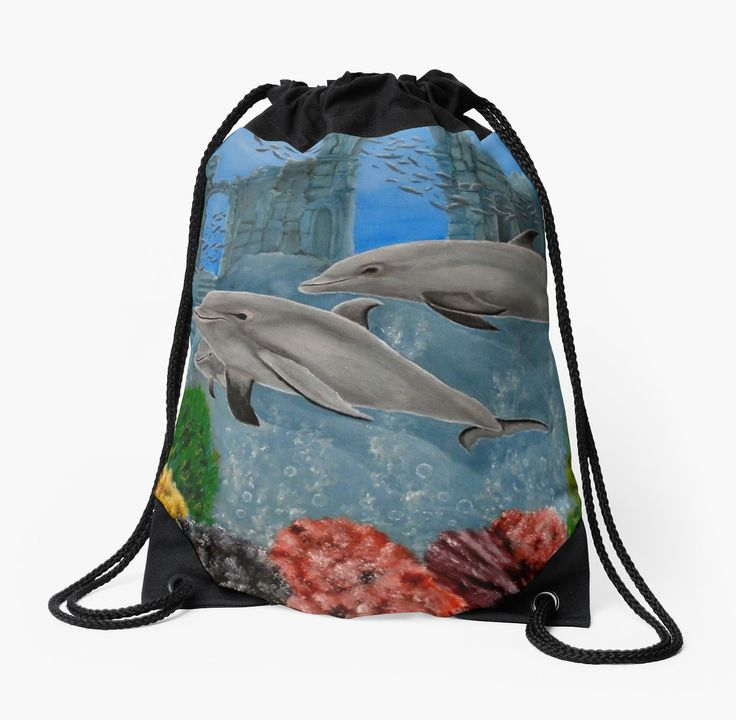 Drawstring Bag,  aqua,blue,beautiful,fancy,unique,trendy,artistic,awesome,fahionable,unusual,accessories,for sale,design,items,products,gifts,presents,ideas,dolphins,wildlife,redbubble