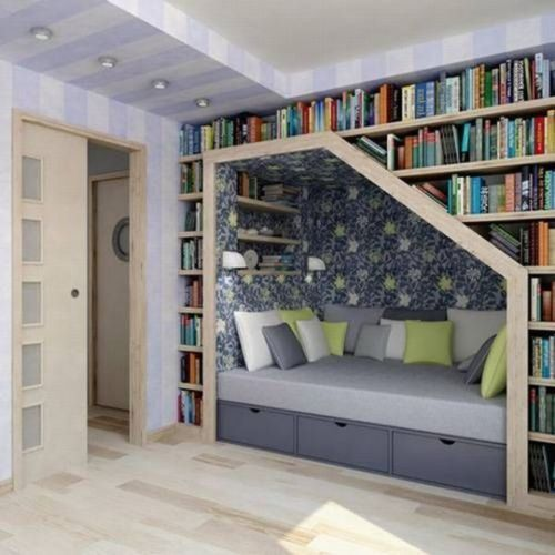a reading nook might be a must! looks a little uncomfortable though.. #reading #nook: Bookshelves, Idea, Stairs, Books Shelves, Reading Nooks, House, Books Nooks, Booknook, Readnook