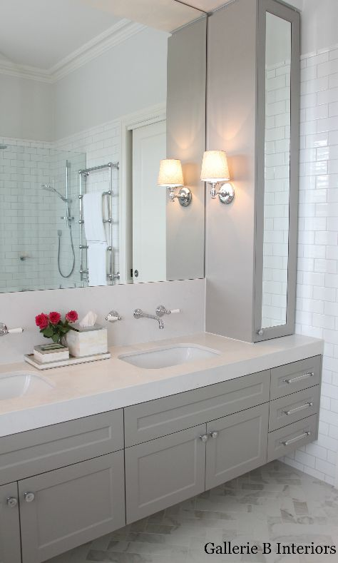 Hamptons style bathroom with grey cabinetry and wall lights. Gallerie B Interiors