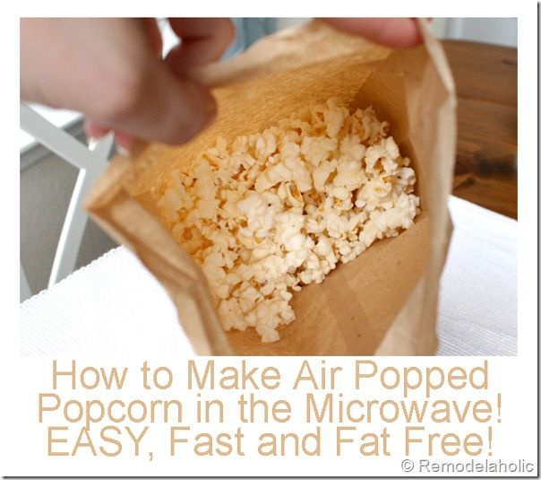Air popped microwave popcorn: a great snack that is fast and easy. I usually pop kernels on the stovetop w/oil but this is a healthier, quicker version. I used the popcorn setting on my microwave and topped w/a sprinkling of Parmesan cheese. Will do often. Made 1/22/16