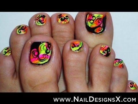 neon toe nail art