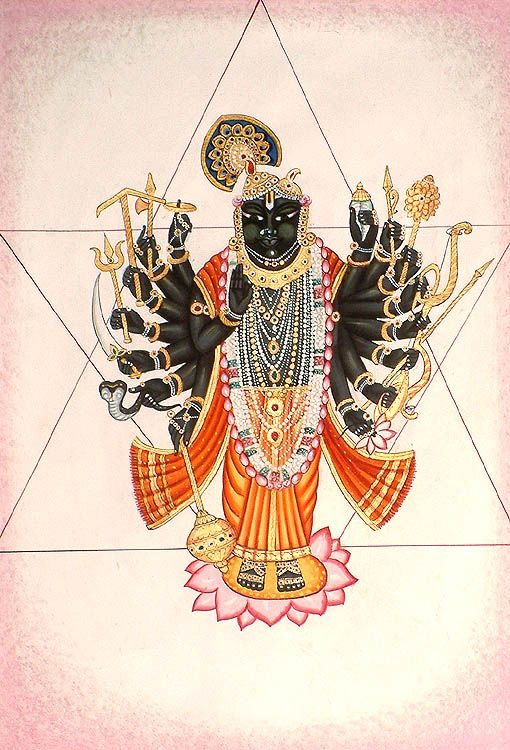 Hindu Cosmos - Tantric Form of Lord Krishna Watercolor on Cotton...
