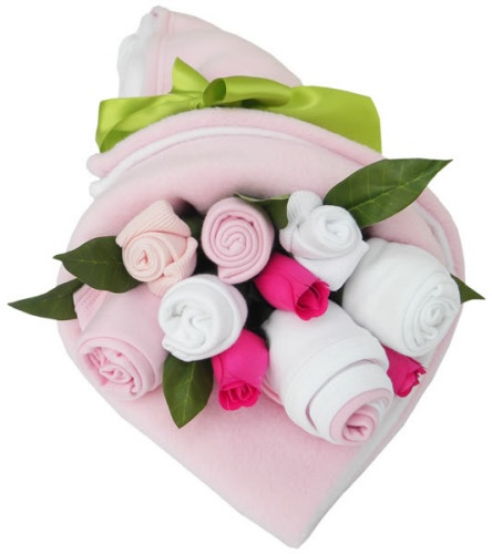 DIY Baby Girft :: Girl Clothes Bouquet So stinkin cute! Shower/delivery gift for a new mom! Love this idea!
