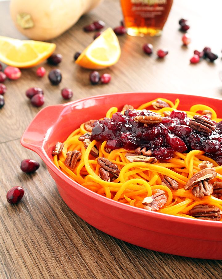 Roasted Butternut Squash Noodles with Orange-Cranberry Sauce and Honey Roasted Pecans